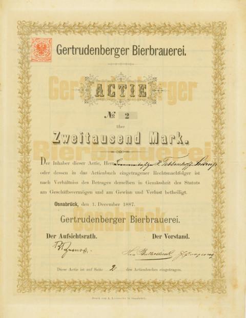 """Aktie der """"Gertrudenberger Bierbrauerei"""", 1887"""